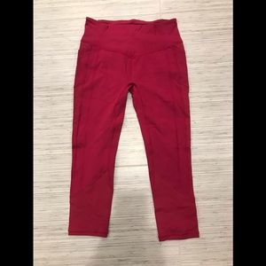 Lululemon Cranberry Colored Capri Yoga Pants